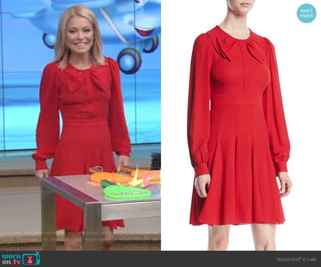 Bow-Front Long-Sleeve Fit-and-Flare Dress by Michael Kors Collection worn by Kelly Ripa  on Live with Kelly & Ryan
