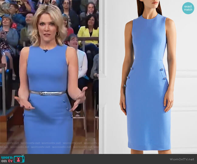 Button-detailed wool-blend crepe midi dress by Michael Kors worn by Megyn Kelly on Today