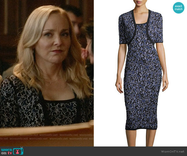 Michael Kors Floral Jacquard Dress and Shrug worn by Geneva Carr on Bull