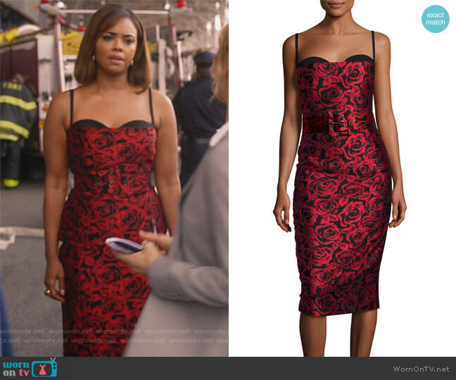 Rose Jacquard Sleeveless Cocktail Dress by Michael Kors worn by Jasmine Gooden (Sharon Leal) on Instinct