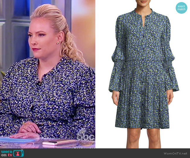 Smocked-Waist Floral-Print Shirt Dress by MICHAEL Michael Kors worn by Meghan McCain on The View