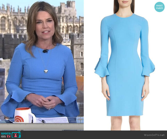 Ruffle Sleeve Stretch Wool Sheath Dress by Michael Kors worn by Savannah Guthrie on Today