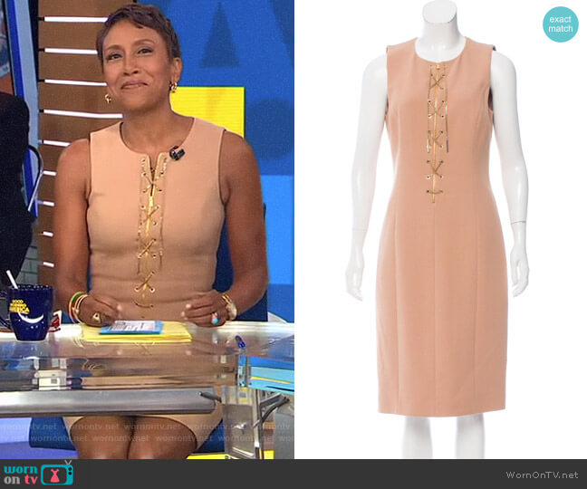 Lace Up Dress by Michael Kors worn by Robin Roberts on Good Morning America