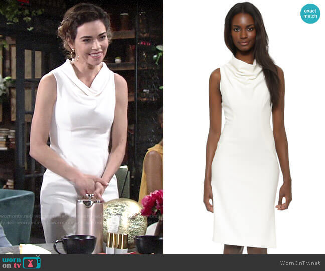 Milly Cowl Neck Sheath Dress worn by Victoria Newman (Amelia Heinle) on The Young & the Restless