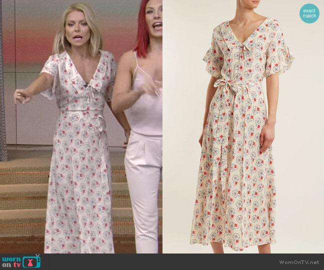 Floral-Print Silk Crepe de Chine Dress by Miu Miu worn by Kelly Ripa on Live with Kelly & Ryan