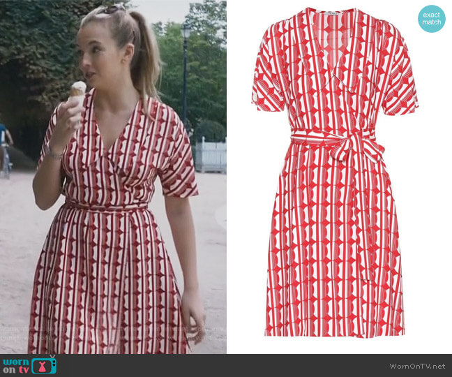 Printed crêpe wrap dress by Miu Miu worn by Villanelle (Jodie Comer) on Killing Eve