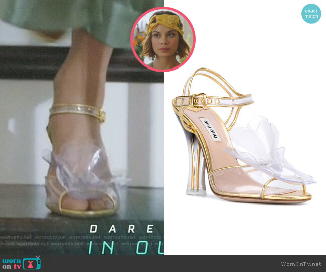 Transparent Gradient-Effect Sandals by Miu Miu worn by Cristal Flores (Nathalie Kelley) on Dynasty