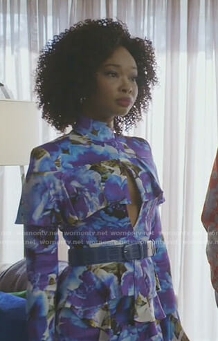 Monica's blue floral ruffled dress on Dynasty