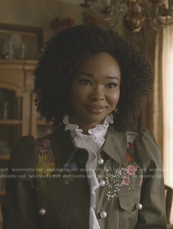 Monica's floral embroidered army jacket with pearl buttons on Dynasty