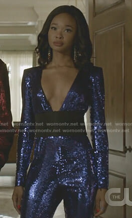 Monica's sequin plunging jumpsuit on Dynasty
