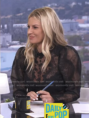 Morgan's black puff sleeve lace top on E! News Daily Pop