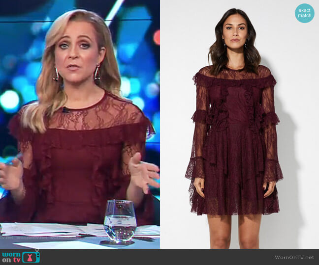 Hide Your Eyes Dress by Mossman worn by Carrie Bickmore  on The Project