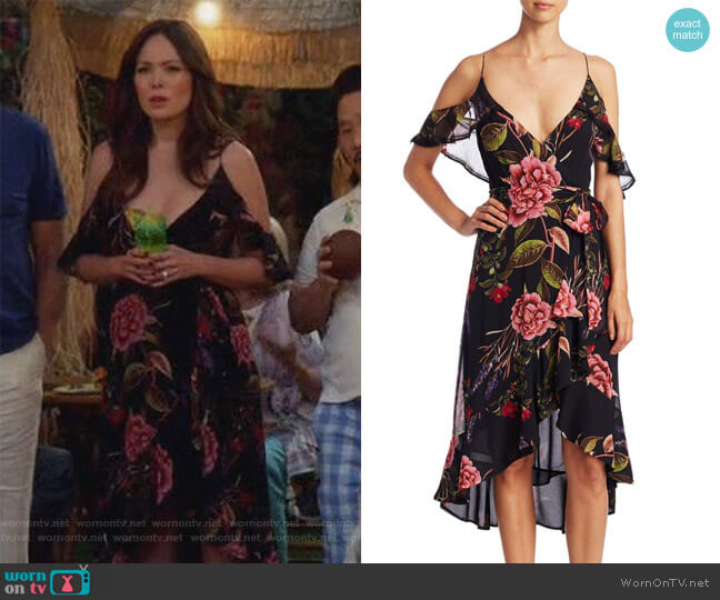 Peony Floral Wrap Silk Dress by Nicholas worn by Camille (Lindsay Price) on Splitting Up Together