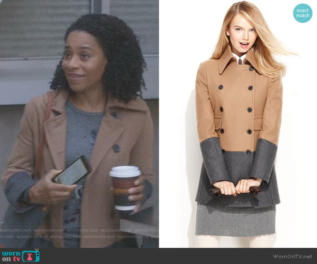 Wool-Blend Colorblock Pea Coat by Nine West worn by Kelly McCreary on Greys Anatomy