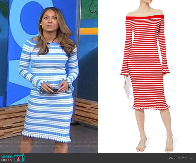 Off Shoulder Ribbed Dress by Caroline Constas worn by Ginger Zee on Good Morning America