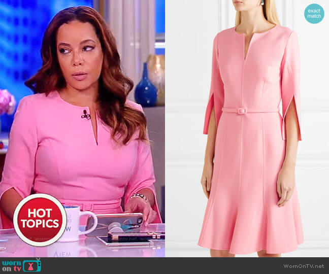 Belted wool-blend dress by Oscar De La Renta worn by Sunny Hostin on The View