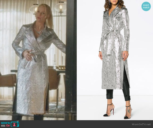 Metallic Joplin Trench Coat by Osman worn by Nicollette Sheridan on Dynasty
