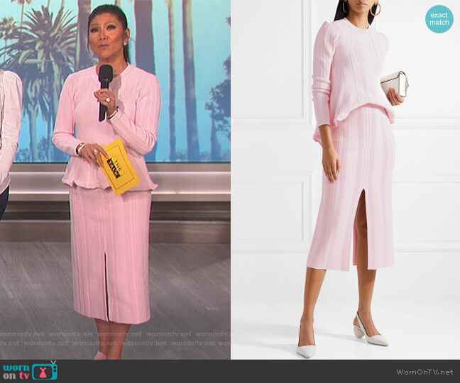 Long-Sleeve Ribbed Peplum Sweater and Double-Slit Ribbed Skirt by Proenza Schouler worn by Julie Chen  on The Talk