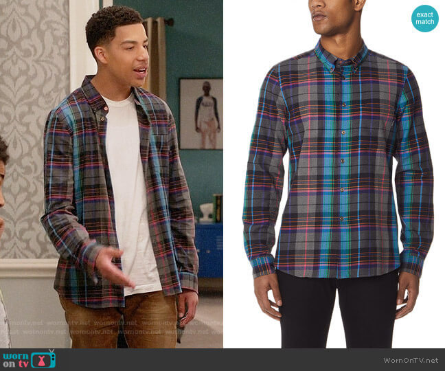 PS by Paul Smith Plaid Tailored Fit Shirt worn by Marcus Scribner on Blackish