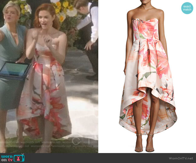 Roxanne Strapless Floral Satin High-Low Gown by Parker Black worn on Sarah Drew on Greys Anatomy