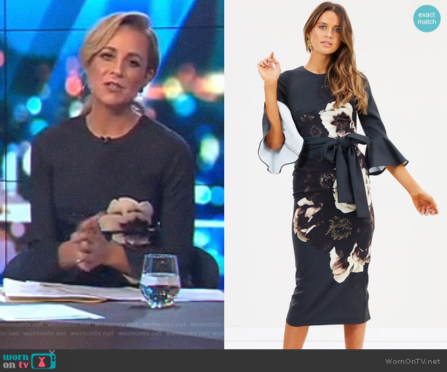 Caboodle Sleeve Midi Dress by Pasduchas worn by Carrie Bickmore  on The Project