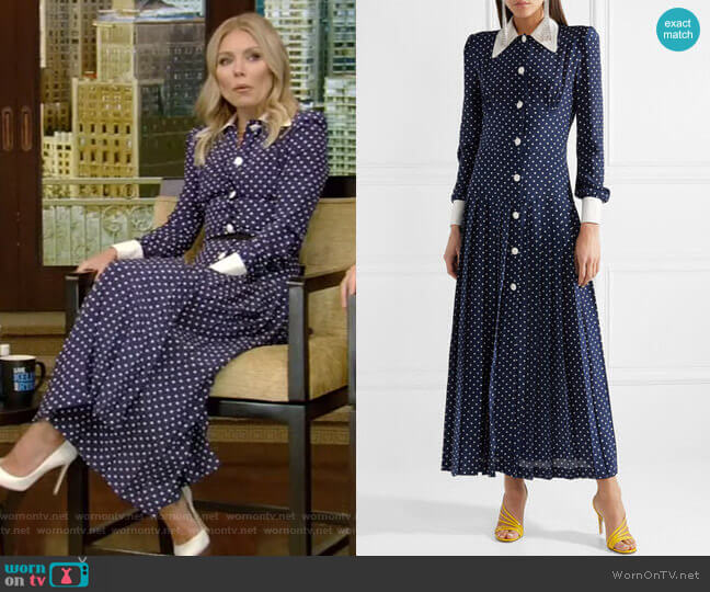 Pleated Polka-Dot Silk Midi Dress by Alessandra Rich worn by Kelly Ripa  on Live with Kelly & Ryan