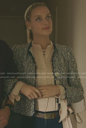 Poppy Langmore's pink tie cuff blouse on Imposters