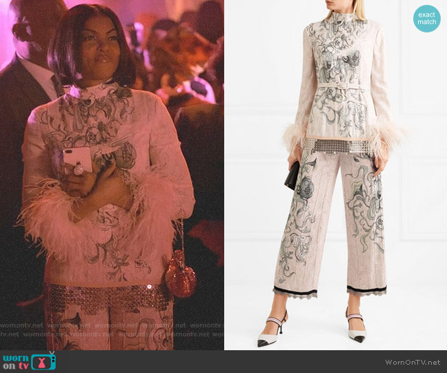 Feather-Trimmed Embellished Printed Blouse and pants by Prada worn by Taraji P. Henson on Empire