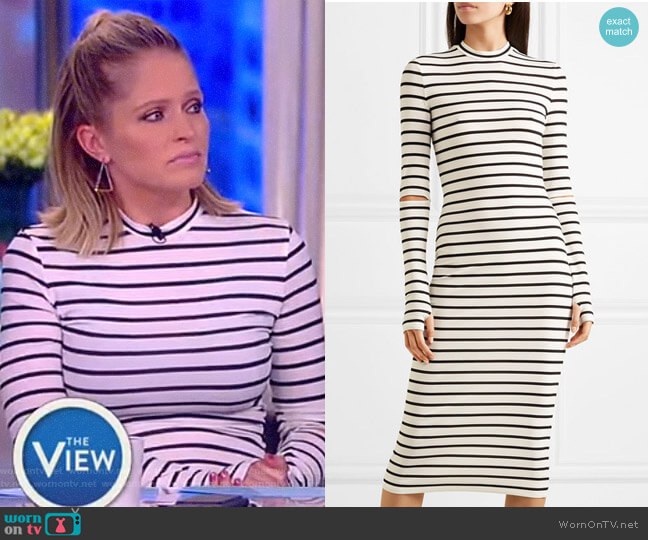 Nikki striped stretch-crepe midi dress by Preen by Thornton Bregazzi worn by Sara Haines on The View