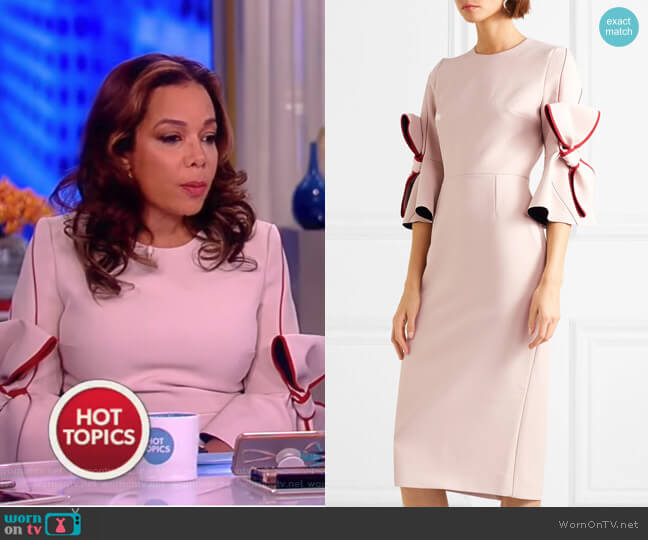 Lavete bow-embellished crepe midi dress by Roksanda worn by Sunny Hostin (Sunny Hostin) on The View