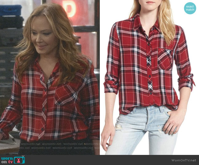 Hunter Plaid Shirt in Cranberry Ink by Rails worn by Leah Remini on Kevin Can Wait