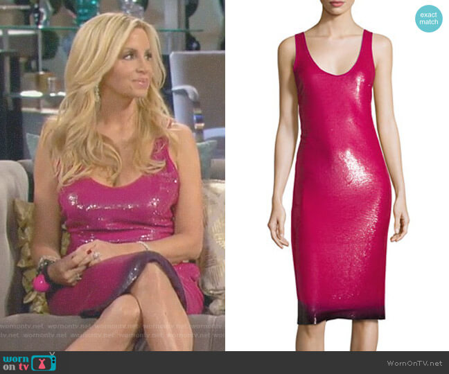 Sequined Ombre-Hem Sleeveless Dress by Ralph Lauren Collection worn by Camille Grammer on The Real Housewives of Beverly Hills