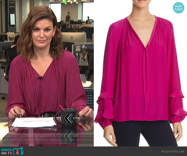 'Anna' Ruffle-sleeve Top by Ramy Brook worn by Kristin dos Santos on Live from E!