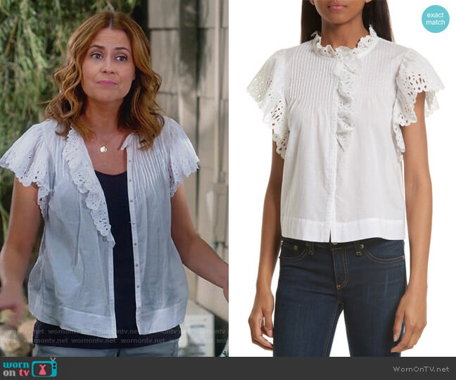 Nouveau Eyelet Cotton Top by Rebecca Taylor worn by Lena (Jenna Fischer) on Splitting Up Together