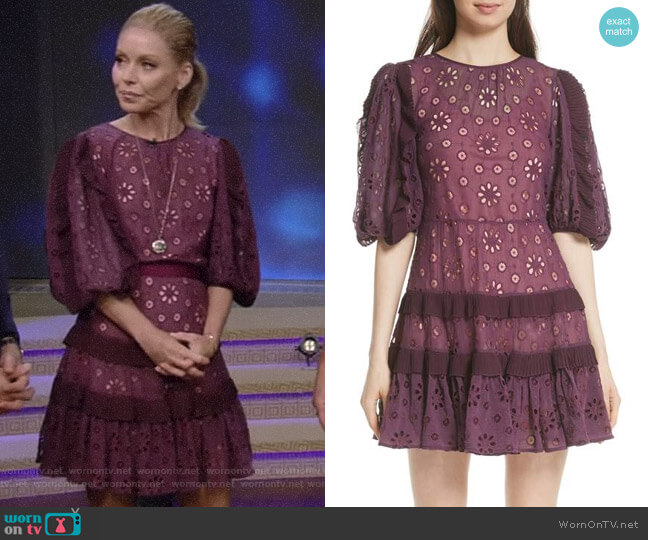 Pinwheel Eyelet Dress by Rebecca Taylor worn by Kelly Ripa on Live with Kelly & Ryan