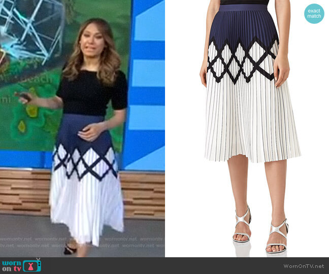 'Elsa' Pleated Midi Skirt by Reiss worn by Ginger Zee on Good Morning America