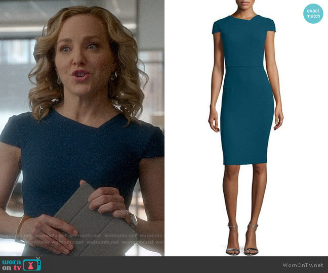 Roland Mouret Cap-Sleeve V-Back Sheath Dress worn by Marissa Morgan (Geneva Carr) on Bull