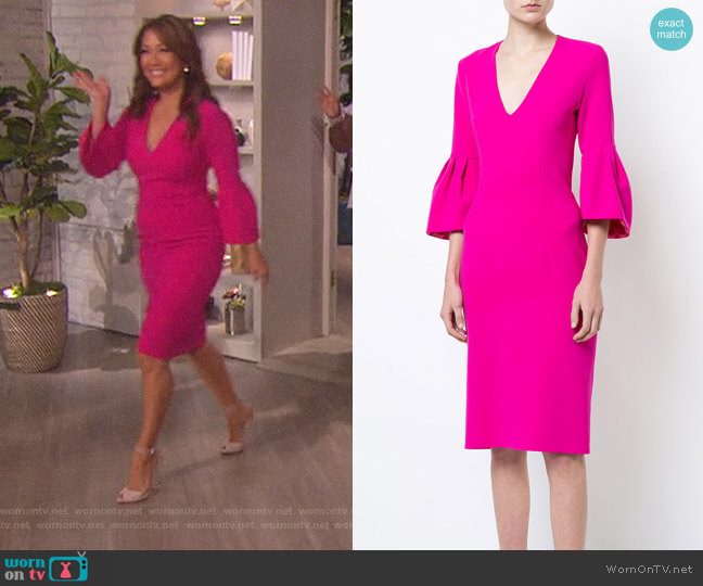 Ginette dress by Sachin & Babi worn by Carrie Inaba on The Talk