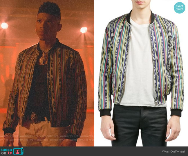 Multicolor Stripe Bomber Jacket by Saint Laurent worn by Hakeem Lyon (Bryshere Y. Gray) on Empire