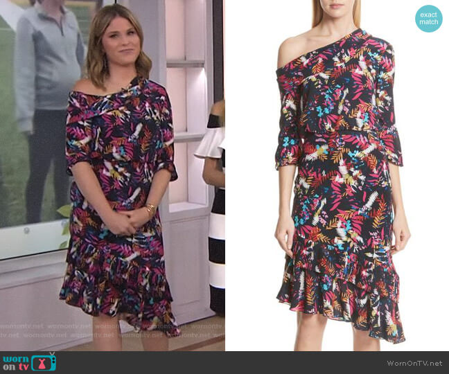 Lexie Floral Print Off the Shoulder Dress by Saloni worn by Jenna Bush Hager on Today