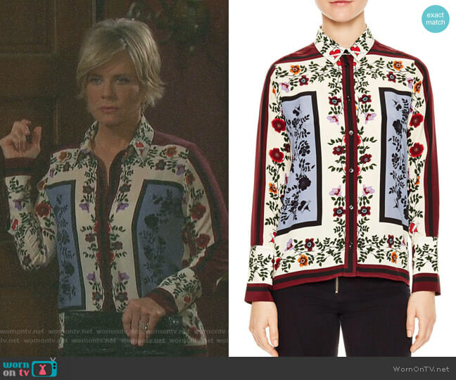 'Louane' Floral & Square Print Silk Shirt by Sandro worn by Kayla Brady (Mary Beth Evans) on Days of our Lives