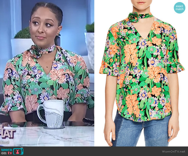 Reda Floral-Print Silk Choker Top by Sandro worn by Tamera Mowry  on The Real