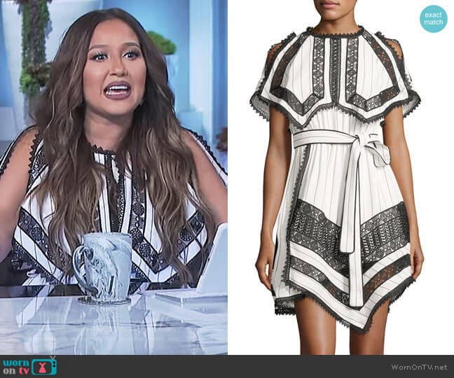 Monochrome Striped Handkerchief Dress with Lace by Self Portrait worn by Adrienne Houghton on The Real