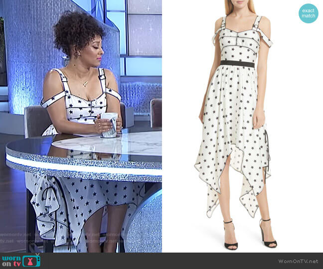 Star Print Handkerchief Hem Dress by Self Portrait worn by Tamera Mowry  on The Real