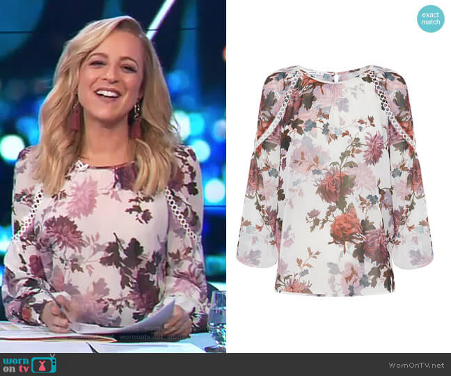 Autumn Bloom Blosue by Sheike worn by Carrie Bickmore  on The Project