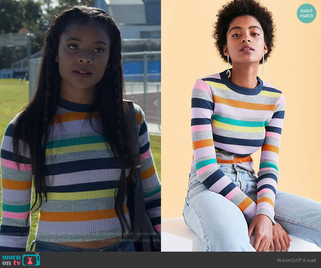Rainbow Stripe Crew-Neck Sweater by Silence + Noise at Urban Outfitters worn by Sheri Holland (Ajiona Alexus) on 13 Reasons Why