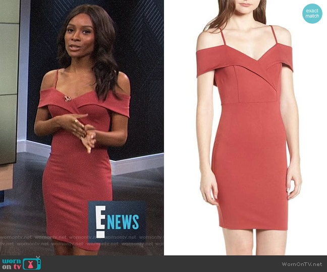 Cold Shoulder Body-Con Dress by Soprano worn by Zuri Hall on E! News
