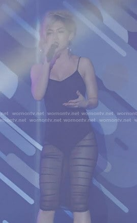 Star's black ruched mesh dress on Star