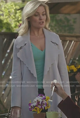 Stephanie's grey scalloped trim coat on Good Witch