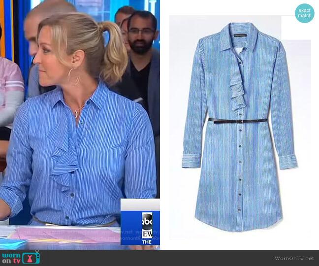 Stripe Ruffle-Front Shirtdress by Banana Republic worn by Lara Spencer on Good Morning America